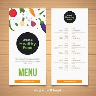 Modelo de menu de comida orgânica
