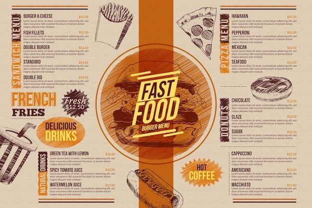 Modelo de menu de comida para uso digital ilustrado