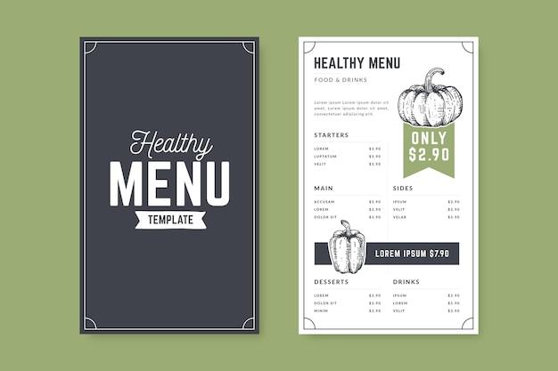 Modelo de menu de comida saudável desenhado à mão