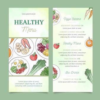 Modelo de menu de comida saudável em aquarela