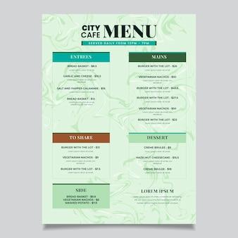 Modelo de menu de comida saudável em mármore