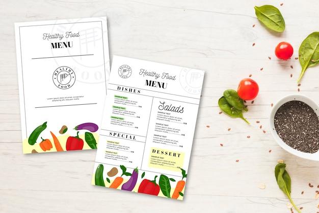 Modelo de menu de comida saudável vintage