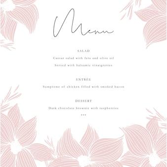 Modelo de menu de convite com flores de mão desenhada