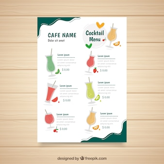 Modelo de menu de coquetéis com diferentes licores