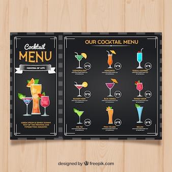 Modelo de menu de coquetéis em estilo simples