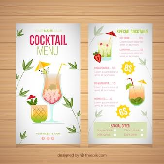Modelo de menu de coquetel com design plano