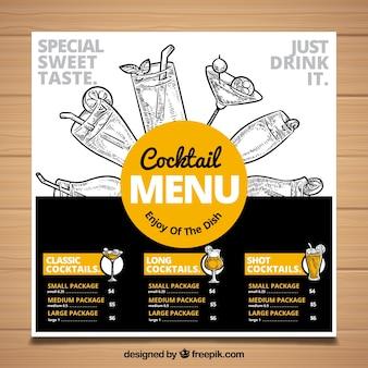 Modelo de menu de coquetel de mão desenhada