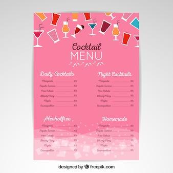 Modelo de menu de coquetel em design plano