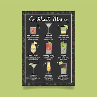 Modelo de menu de coquetel