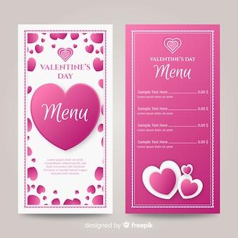 Modelo de menu de corações plana de dia dos namorados