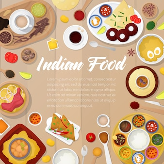 Modelo de menu de cozinha indiana