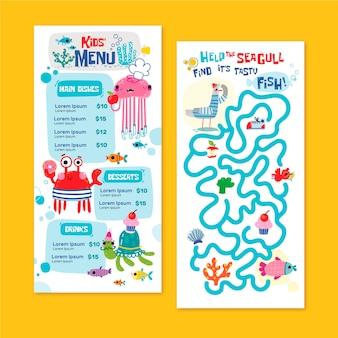 Modelo de menu de crianças mão desenhada