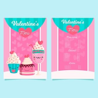 Modelo de menu de design plano dia dos namorados