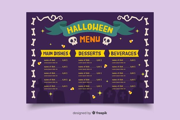Modelo de menu de dia das bruxas assustador de mão desenhada