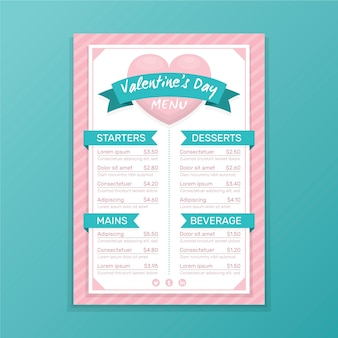 Modelo de menu de dia dos namorados com coração