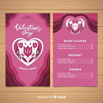 Modelo de menu de dia dos namorados coração floral