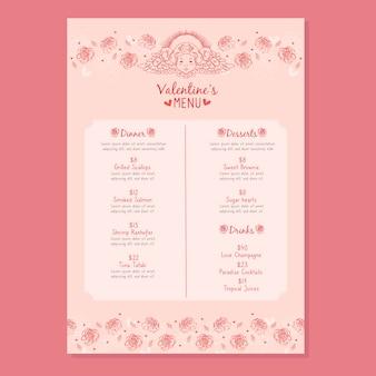 Modelo de menu de dia dos namorados desenhados à mão