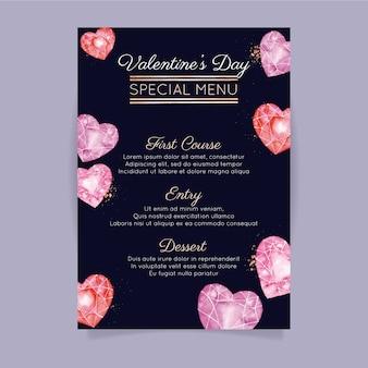 Modelo de menu de dia dos namorados em aquarela com corações de diamante