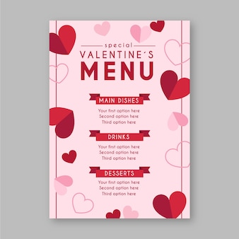 Modelo de menu de dia dos namorados em design plano