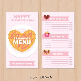 Modelo de menu de dia dos namorados waffle