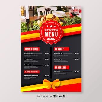 Modelo de menu de distintivo de Natal