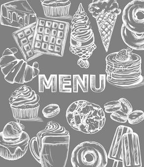 Modelo de menu de doces