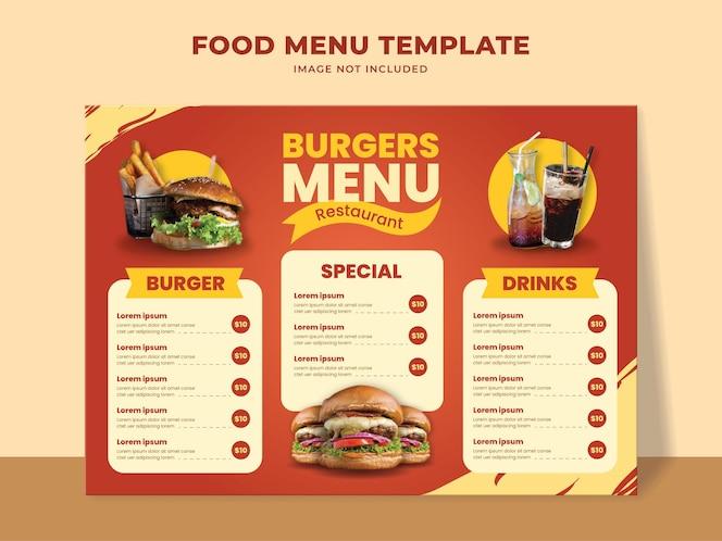 Modelo de menu de fast food com menu de hambúrguer, bebidas e outros itens do menu