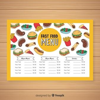 Modelo de menu de fast-food de mão desenhada