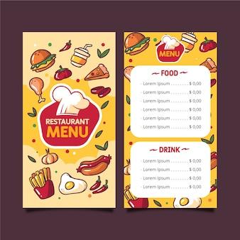 Modelo de menu de fast-food
