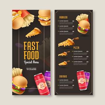 Modelo de menu de fast food