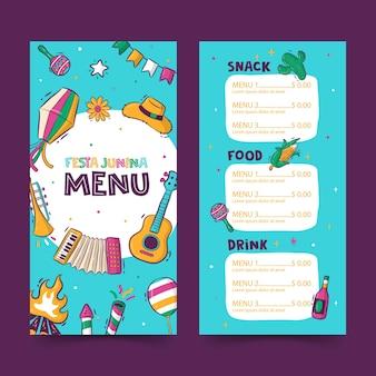 Modelo de menu de festa junina