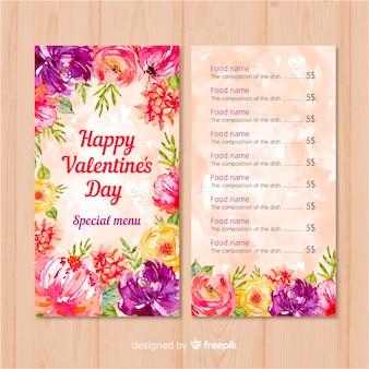 Modelo de menu de flores coloridas dos namorados