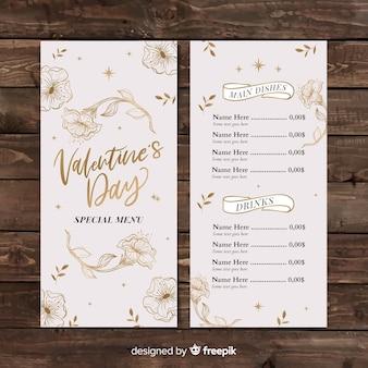 Modelo de menu de flores douradas de dia dos namorados
