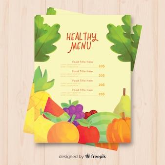 Modelo de menu de frutas e legumes frescos