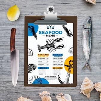 Modelo de menu de frutos do mar em estilo vintage