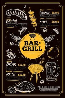 Modelo de menu de grelha de bar