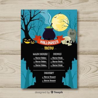 Modelo de menu de halloween colorido com design liso