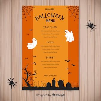 Modelo de menu de halloween colorido mão desenhada