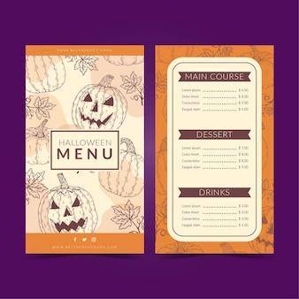 Modelo de menu de halloween com abóboras