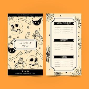 Modelo de menu de halloween com caveiras