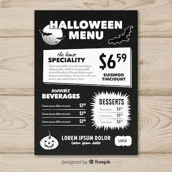 Modelo de menu de halloween com design plano