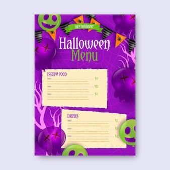 Modelo de menu de halloween com design realista