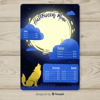 Modelo de menu de halloween com lobo
