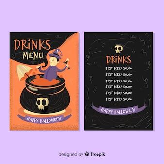 Modelo de menu de halloween criativo