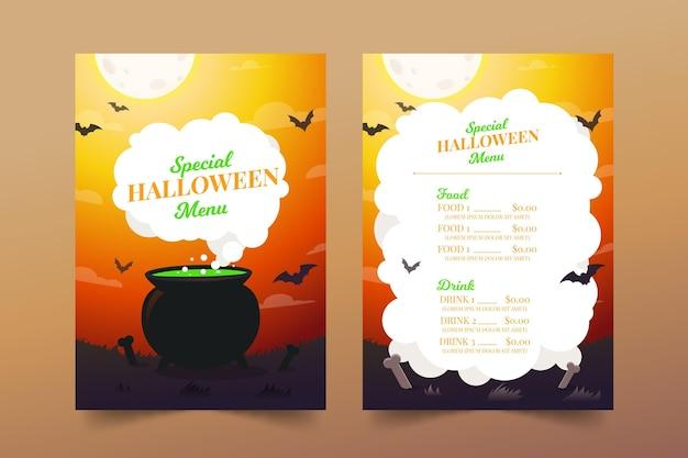 Modelo de menu de halloween de design plano