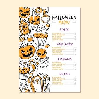 Modelo de menu de halloween de mão desenhada design
