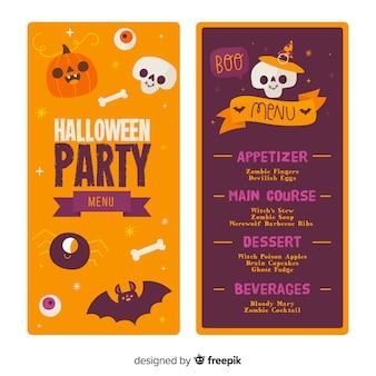 Modelo de menu de halloween de mão desenhada