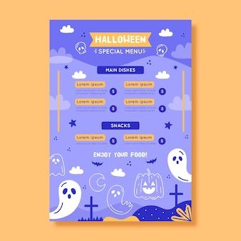 Modelo de menu de halloween desenhado à mão