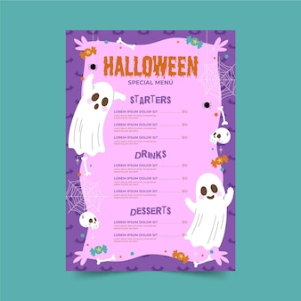 Modelo de menu de halloween desenhado