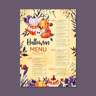 Modelo de menu de halloween em aquarela com abóboras